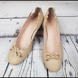 Kate Spade Cream Yasmin Scalloped Edge Block Heels